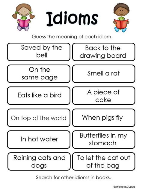grade idioms worksheets  answers thekidsworksheet