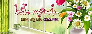 Colourful Hello March Facebook Covers