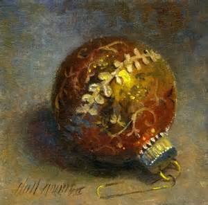 gold christmas ornament 6 x6 oil on canvas original painting by artist hall groat ii