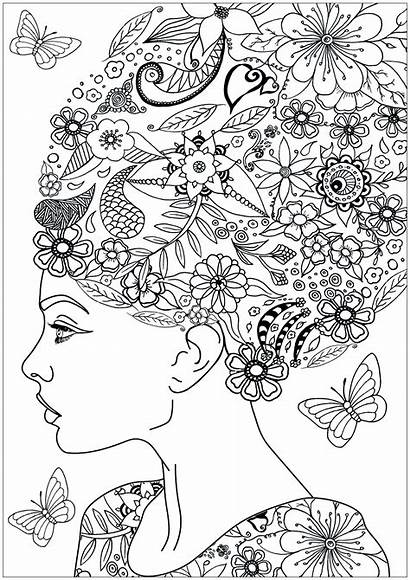 Flowers Coloring Pages Woman Adults Hair Tree