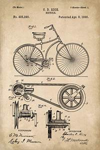 Bicycle Invention Patent Art Poster Print