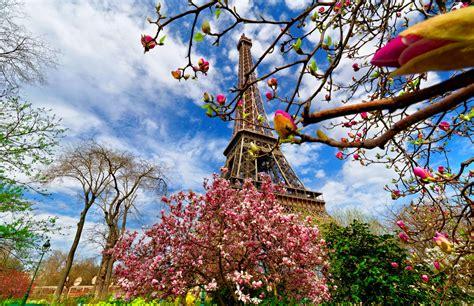 clouds, springtime, flowers, beautiful, Paris, sky, Eiffel ...
