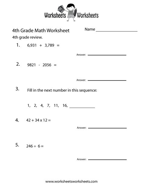 printable  grade math review worksheet