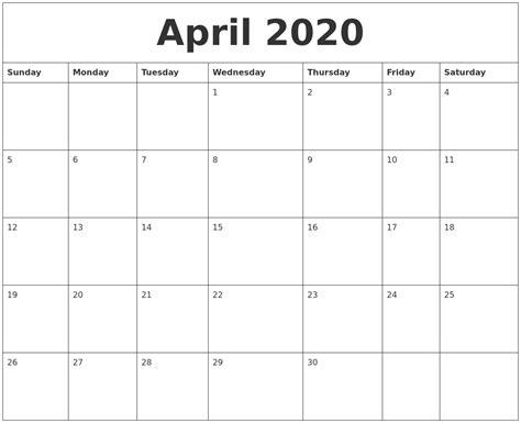april blank monthly calendar template