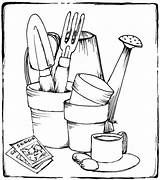 Tools Gardening Coloring Garden Pages Printable Drawing Colouring Sheets Adult Pots Items Stamps Rocks Therapy Adults Kitchen Drawings Vegetable Outline sketch template