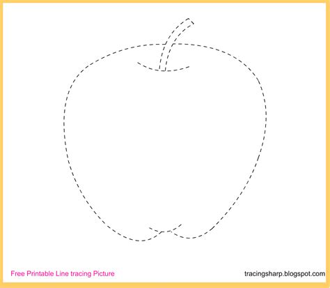 free tracing line printable apple tracing picture