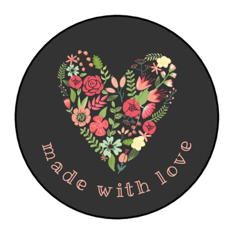 love floral heart circle labels label