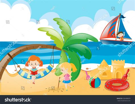 Beach Scene With Kids Playing Illustration 506488879