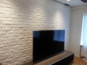 Wandgestaltung Im Wohnzimmer : wandgestaltung mit der kunststeinpaneele bronx in ziegelsteinoptik ~ Sanjose-hotels-ca.com Haus und Dekorationen