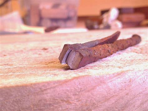 iron nature found peculiar forged rusty imagine felt nail yard break soft well