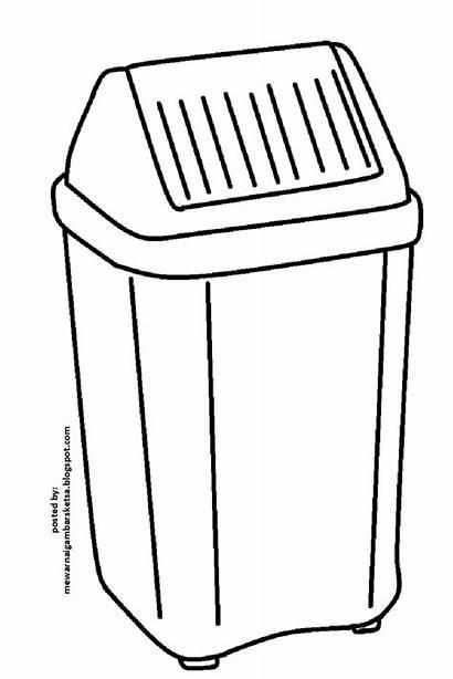 Gambar Mewarnai Sampah Tempat Sketsa Kotak Dapur