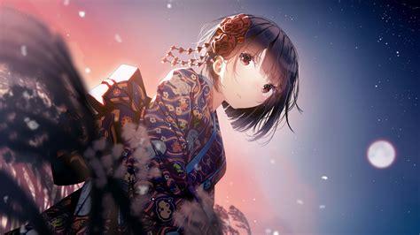 anime girl kimono uhd  wallpaper pixelz