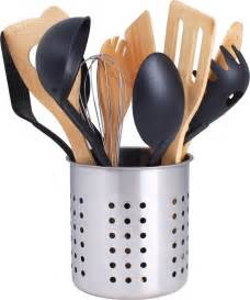 utensil kitchen holder caddy cutlery stainless steel container holes flatware drain brushed utopia cookware cock