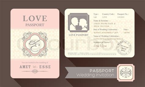 Vintage Visa Passport Wedding Invitation Card Design
