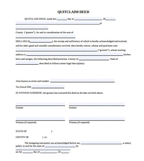 quick deed form free printable 11 quitclaim deed forms sles exles format