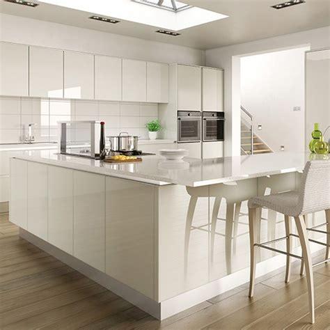 gloss kitchen ideas hi gloss white kitchen with l shaped island gloss