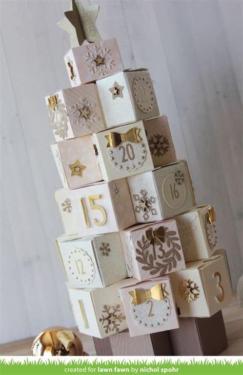lawn fawn elegant gold cream tiny box tree advent