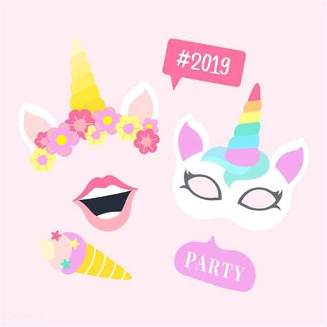 You may also like magic unicorn or unicorn isolated clipart! Cute unicorn photo booth party props vector   Free vector ...