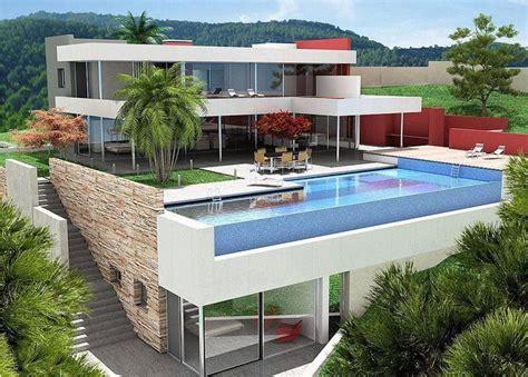 desain rumah minimalis  lantai  kolam renang gambar