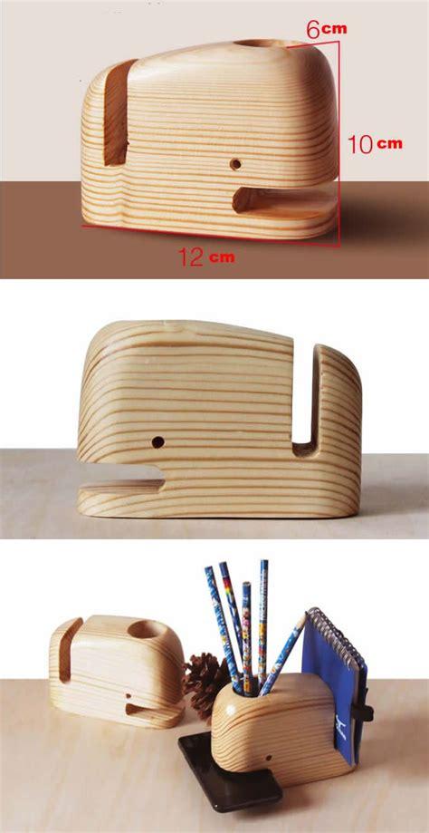 wooden whale desk organizer  holder smartphone holder