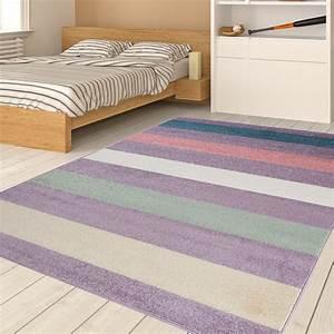 Teppich Für Jugendzimmer : tapiso happy teppich kurzflor kinderteppich lila mehrfarbig mit modern linien streifen muster ~ Whattoseeinmadrid.com Haus und Dekorationen