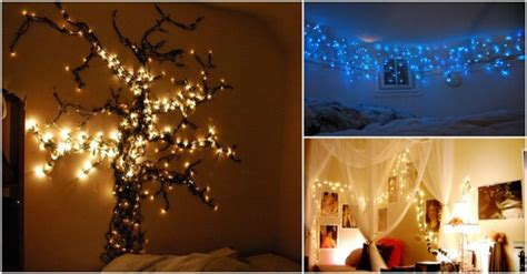 creative ways  hang christmas lights  bedroom