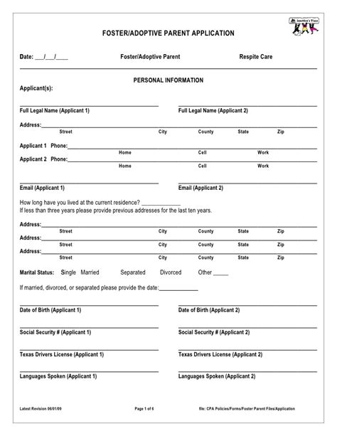 foster care application form foster parent application