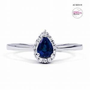 Aya 18ct white gold blue sapphire teardrop ring diamond for Wedding band for teardrop engagement ring