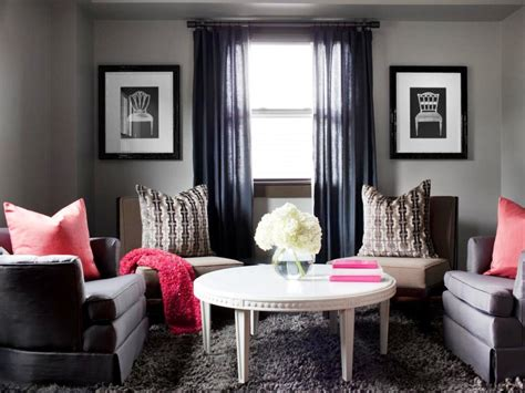 Elegant Gray Living Room With Black Curtain Gray Sofa