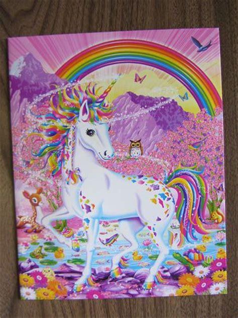 lisa frank rainbow mischief unicorn  pocket portfolio