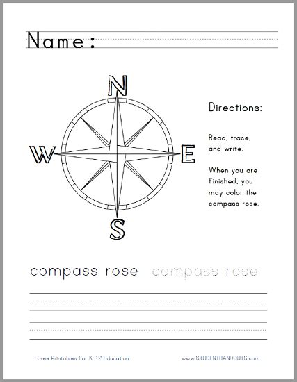 compass handwriting worksheet for lower elementary