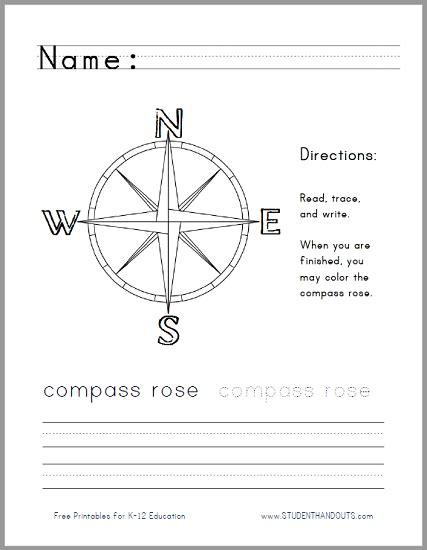 compass handwriting worksheet for lower elementary