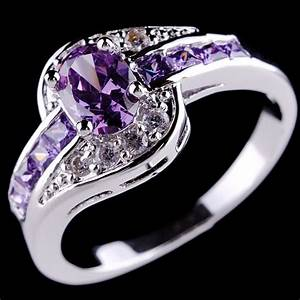 Purple rings amethyst 10k white gold filled ring womens for Purple wedding rings for women