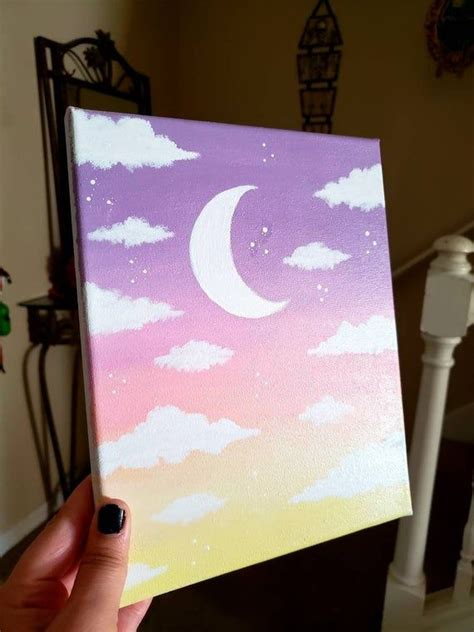 celestial aesthetic moon cloud pink ombre painting etsy