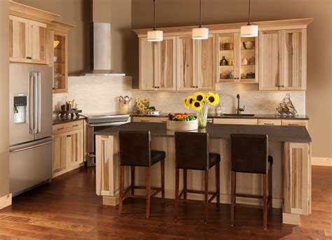 American Woodmark Kitchen Cabinets by The Lodge Look Rustic Charm Of Shorebrook Hickory
