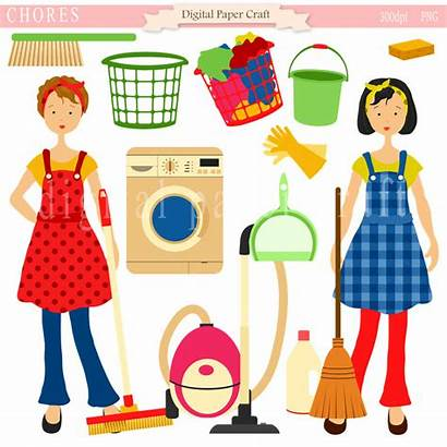 Clipart Chores Housework Cleaning Clip Organizing Maid