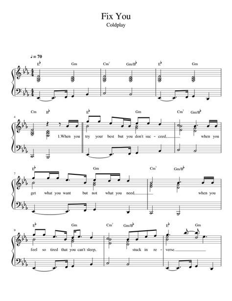 not angka lagu fix you coldplay 23 best images on sheet piano