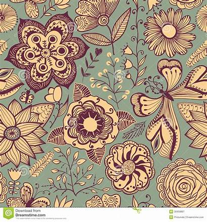 Seamless Pattern Texture Floral Abstract Theme Flowers