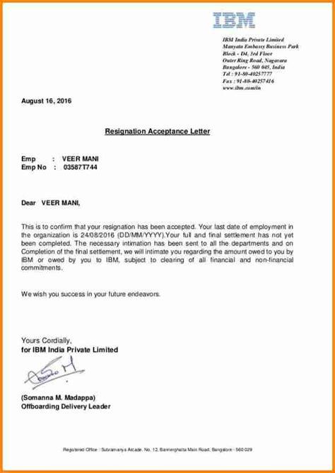 acceptance  resignation letters resign letter job