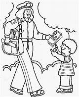 Coloring Pages Community Helpers Helper Postman Workers Mail Students Lady Fun Some Printable Preschool sketch template