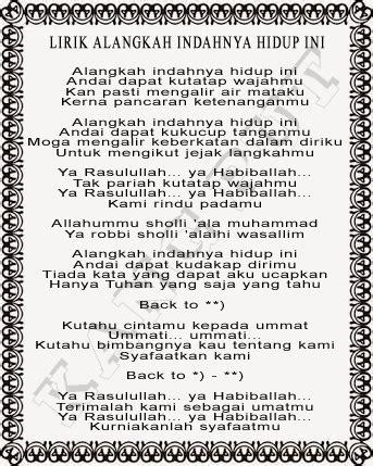 Kumpulan Soal Pelajaran 8 Lirik Lagu Sholawat