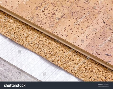 cork flooring insulation laying technology cork floor on concrete stock photo 117778531 shutterstock