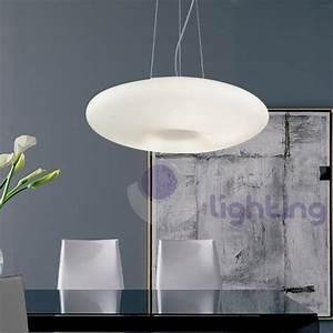Lampada sospensione cucina vetro bianco DISCO D50