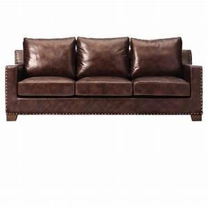 Home decorators collection garrison brown leather sofa for Garrison leather sectional sofa