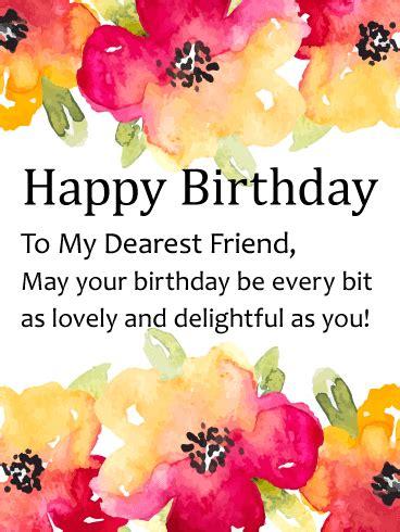 watercolor flower happy birthday card  friends