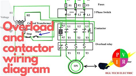 how to wire a contactor and overload start stop 3 phase motor control youtube