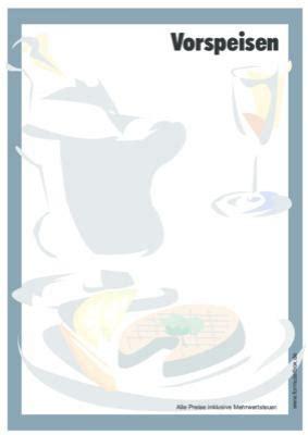 speisekarten set fisch vorlage muster zum ausdrucken