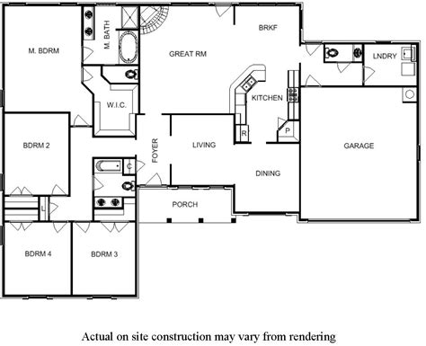 single story 4 bedroom house plans 4 bedroom floor plans for one story house bill
