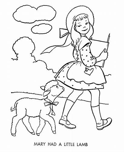 Coloring Lamb Nursery Mary Pages Had Rhymes