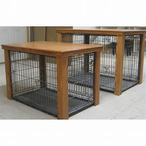 Wooden table dog crate cover creative crafty for Diy wooden dog crate cover
